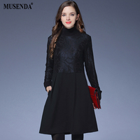 MUSENDA Plus Size Women Black Lace Patchwork Pocket Tunic Short Dress 2017 Autumn Winter Female Party