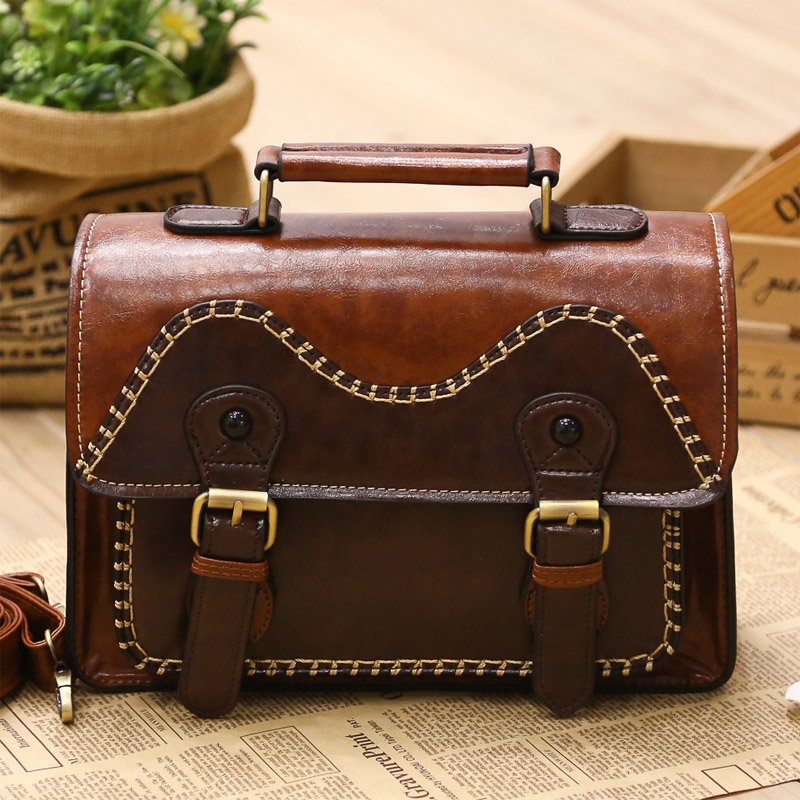 ФОТО Women Vintage Handbags Ladies Tote Cross Body Shoulder Messenger England & Preppy Style PU Briefcase Postman Bag