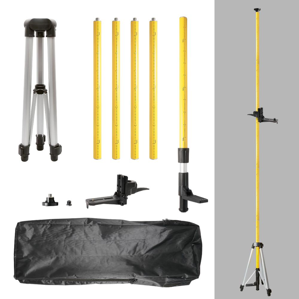 Huepar 12 Ft./3.7m Laser Tripod Telescoping Pole with 1/4-Inch by 20-Inch Laser Mount for Rotary Included LP36 & 5/8