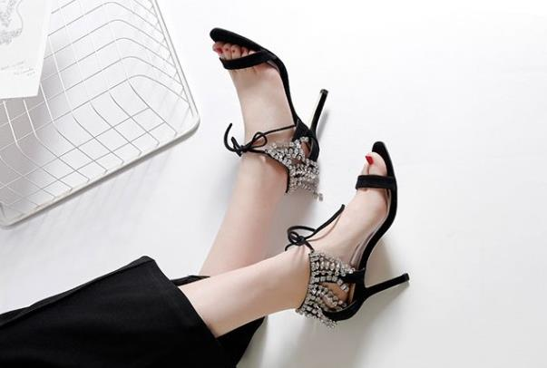 Fashion Bling Bling Crystal Embellished Women Sandals Open Toe Ankle Lace up Shoes for Casual High Heels Sexy Spring Summer Fashion Bling Bling Crystal Embellished Women Sandals Open Toe Ankle Lace up Shoes for Casual High Heels Sexy Spring Summer