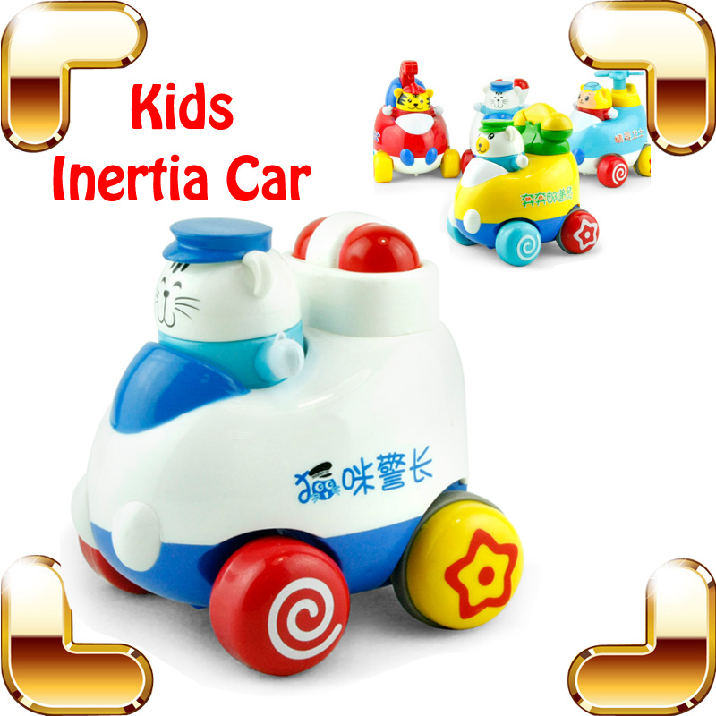 Christmas Gift Children Iinertia Car 4 PCS Set Friction Toys For Kids Cartoon Vehicle Toy Funny Animal Learning Education Game
