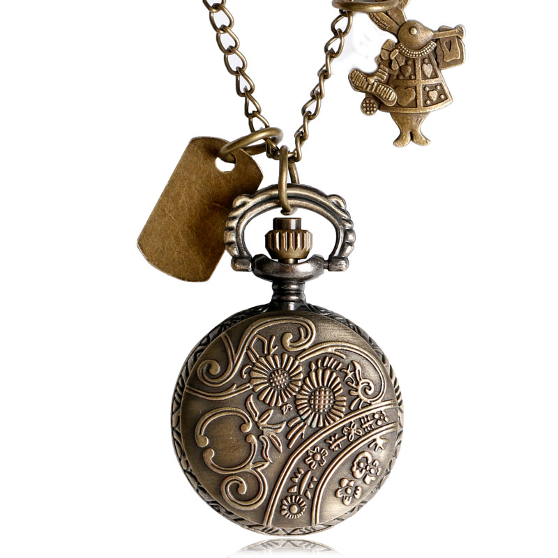 Retro design small pocket watch alice in wonderland pendant charm retro design small pocket watch alice in wonderland pendant charm drink me necklace watches women gift in pocket fob watches from watches on aloadofball Gallery
