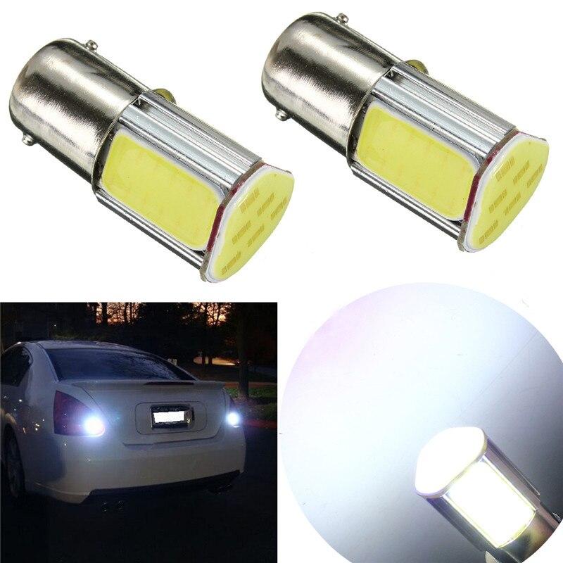 2pcs 1156 G18 Ba15s 4 COB LED Auto Car Light Source Rear Light Bulb Lamp DC12V 2pcs car lights super white silical 1156 ba9s cob led bulb car auto turning signal light lamp 0 5w 30lm dc12v