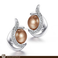 New! Stunning Fashion Jewelry Gold Pearl 925 Sterling Silver Earrings E0340