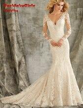 BacklakeGirls V-neck Tulle Court Train Long Sleeve Lace Trumpet Mermaid Wedding Dresses Custom Made 2017