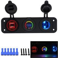 New Dual USB Socket Splitter Motor Car DC Digital Voltmeter Car Electronics Cigarette Lighter 3 Hole