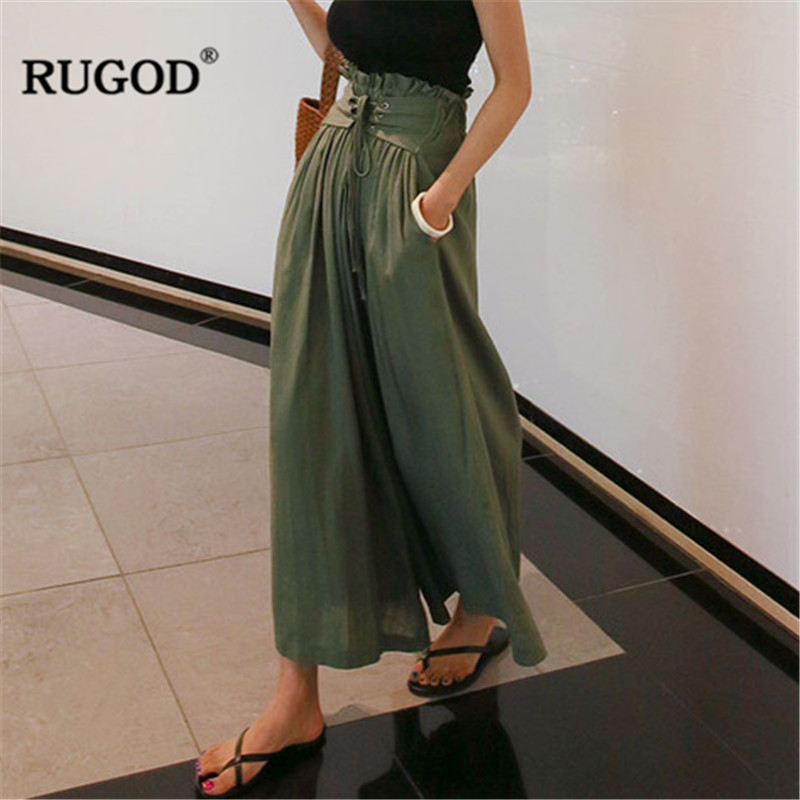 RUGOD summer Loose self Belted Box Pleated Palazzo   Pants   for women Hight Waist Lace up   Wide     leg     pants   female Boho beach trousers
