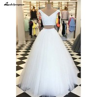Vestido Longo White Tulle Two Pieces Long Prom Dresses V Neck Floor Length Prom Gown