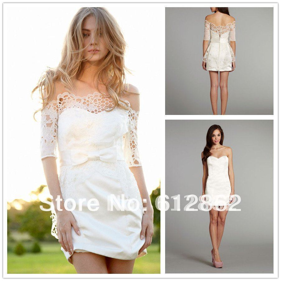 sexy short wedding dresses Aliexpress com Buy New Arriving Detachable Sleeve Lace Sexy Short Wedding Dresses from Reliable wedding dresses with bell sleeves suppliers on VivinTong