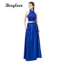 BeryLove Royal Bleu Deux Pièces Longues Robes De Bal 2018 Perles Col Haut Robes De Soirée Femmes Parti Robes Formelles