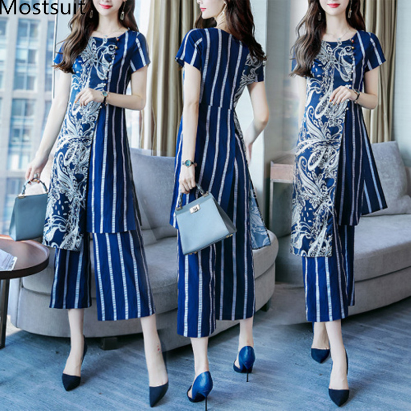 L-5XL Summer Printed Striped Two Piece Sets Women Plus Size Short Sleeve Long Tops And Wide Leg Pants Suits Office Elegant Sets