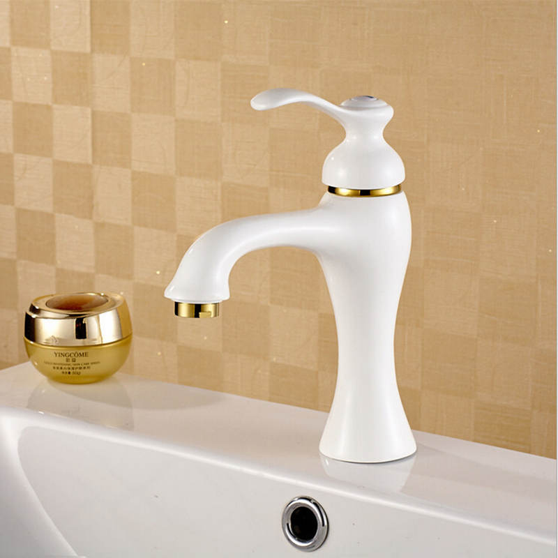 New Arrival Grilled White Painted Bathroom Faucet Single Handle White Hot & Cold Brass Basin Sink Mixer Tap W-002 Free Shipping frap new bathroom combination basin faucet shower tap single handle cold and hot water mixer with slide bar torneira f2823