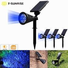 лучшая цена T-SUNRISE 4 Pack Solar Spotlight 4 LED Solar Powered Lamp Outdoor Adjustable  IP65 Waterproof Garden Landscape Light Blue Color