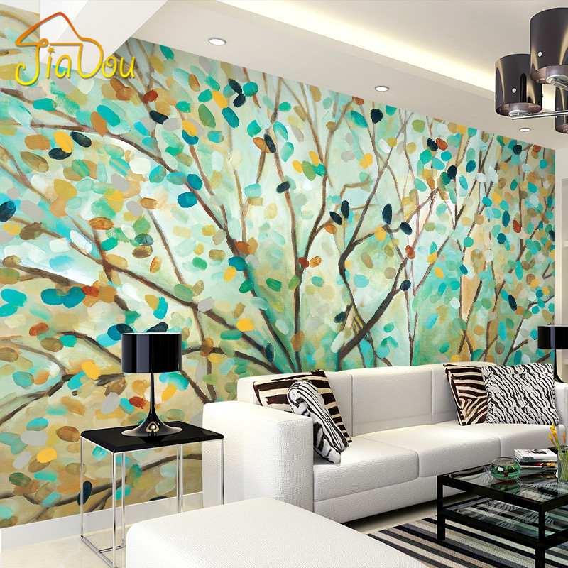 Custom mural wallpaper vintage abstract tree oil painting for Antique wallpaper mural