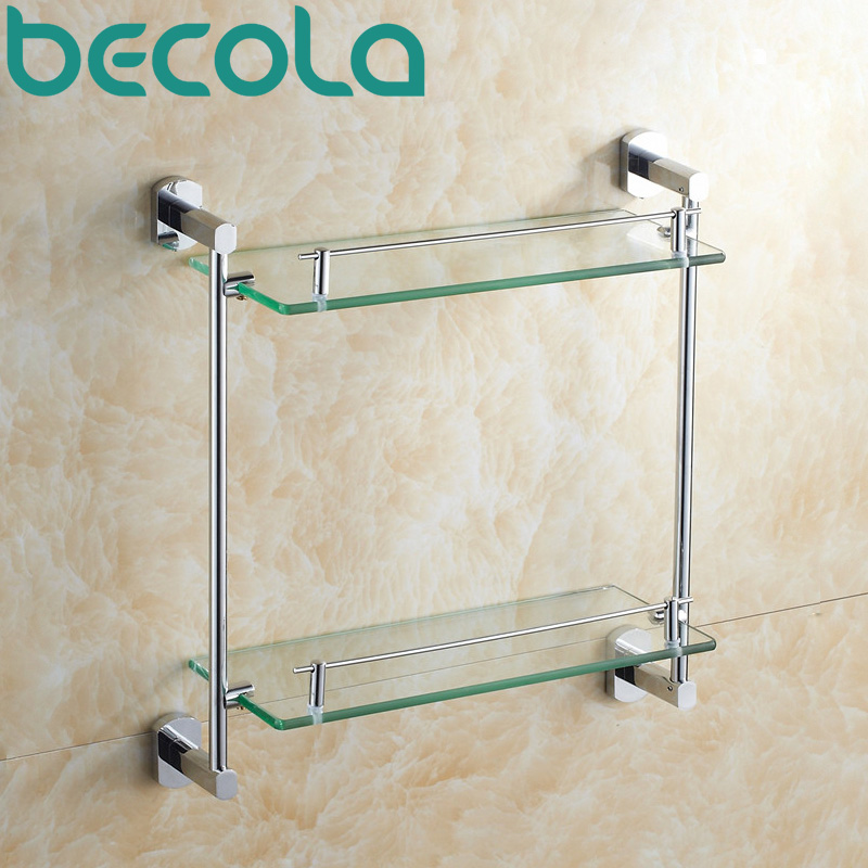 Free shipping Bathroom Accessories Products bathroom shelf Solid Brass Chrome Finished Dual Tier Glass shelf B-16011 direct selling hot sale bolt inserting type free shipping bathroom accessories solid chrome double shelf wholesale 84012