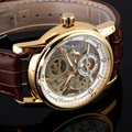 Luxury Fashion 2016 New Vintage Watches Stainless Steel Case Men Leather Mechanical Skeleton Watches FSN289