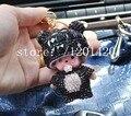 A la venta BlackCrystal Monchhichi Sleutelhanger clave anillo Monchichi llaveros del bolso del encanto del anillo dominante del coche lindo Bling de regalo