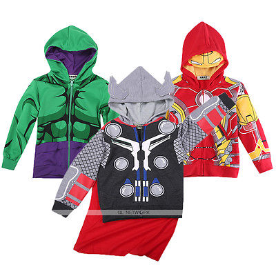 Iron Man Batman Superhero Hulk Kids Toddler Boys Padded Jacket font b Hoodie b font Sweatshirt