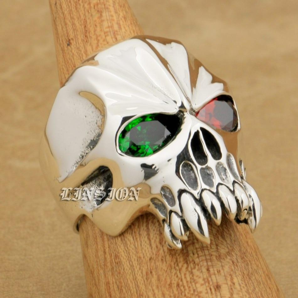 US Size 8~15 Huge Heavy 925 Sterling Silver Red + Green CZ Eyes Skull Mens Biker Rock Punk Ring 9M604 green cz eye 925 sterling silver skull ring mens biker punk style 8v306a us 8 15