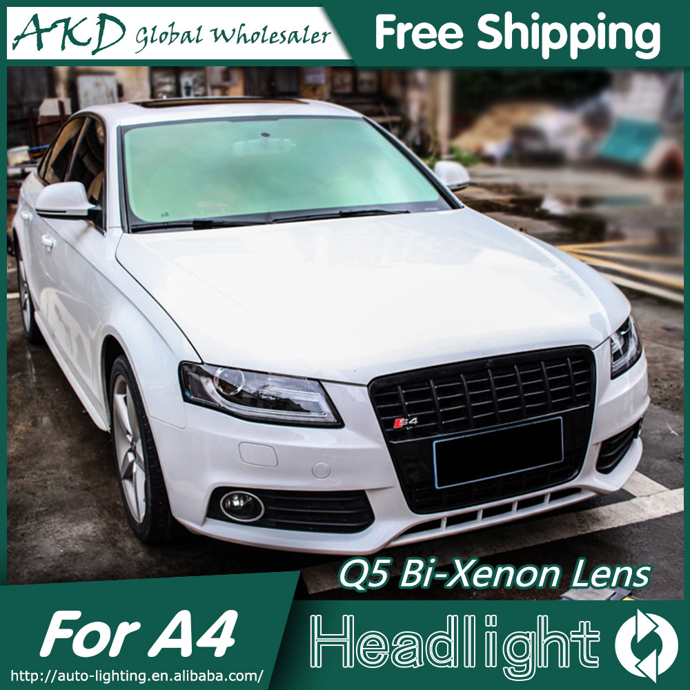 AKD Car Styling for Audi A4 B8 Headlights 2009-2012 A4L LED Headlight LED DRL Bi Xenon Lens High Low Beam Parking akd car styling for nissan teana led headlights 2008 2012 altima led headlight led drl bi xenon lens high low beam parking
