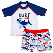Funfeliz Boys Swimsuit Two Pieces UV Protection Children Surf Swimwear Baby Boy Swim Trunks Short Sleeve Kids 1-6 Years