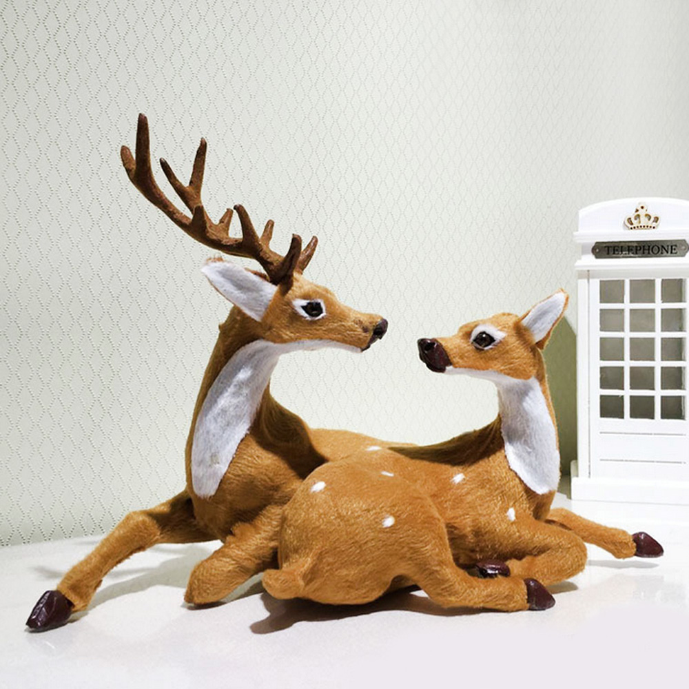Behogar 1 PCS Couple Christmas Reindeeer Sitting Fawn Ornament Deer Crafts Xmas Gift Toy Home Decorations