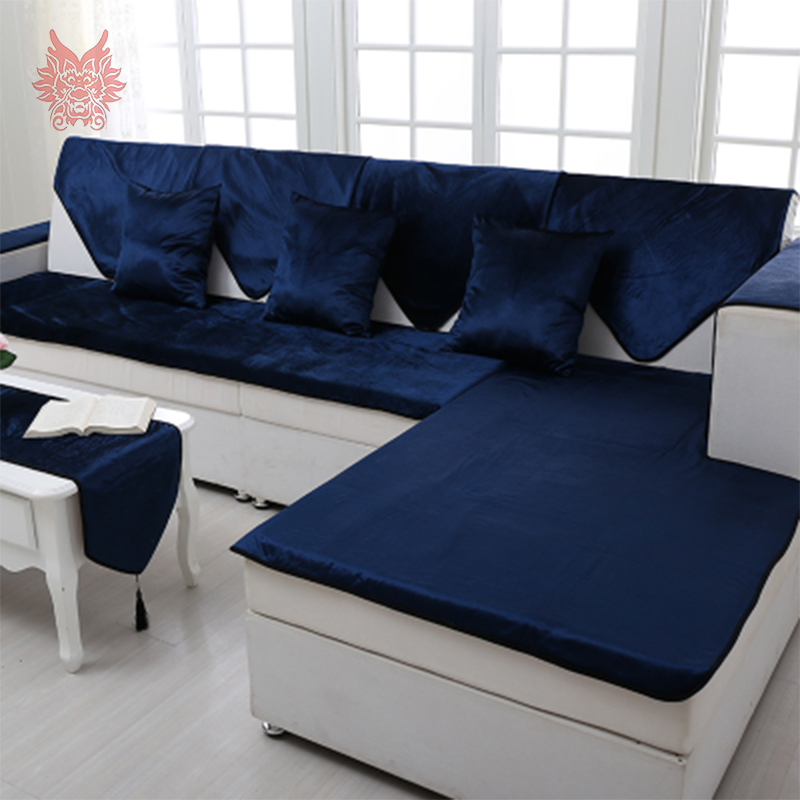 American Style Royal Blue Velvet Sofa Cover Flannel Plush Slipcovers For Leather Warm Winter Canape
