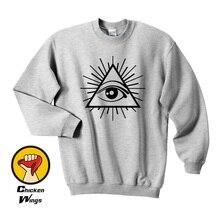All Seeing Eye Printed Mens Tshirt Illuminati Cult Cross Tee Swag Tumblr Hip Top Crewneck Sweatshirt Unisex More Colors