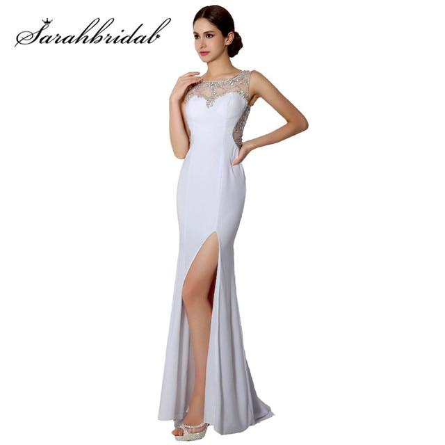 bb0008794 Blanco gasa elegante Formal vestidos de noche caliente atractivo rajó  opacidad largo vestido de baile trajes