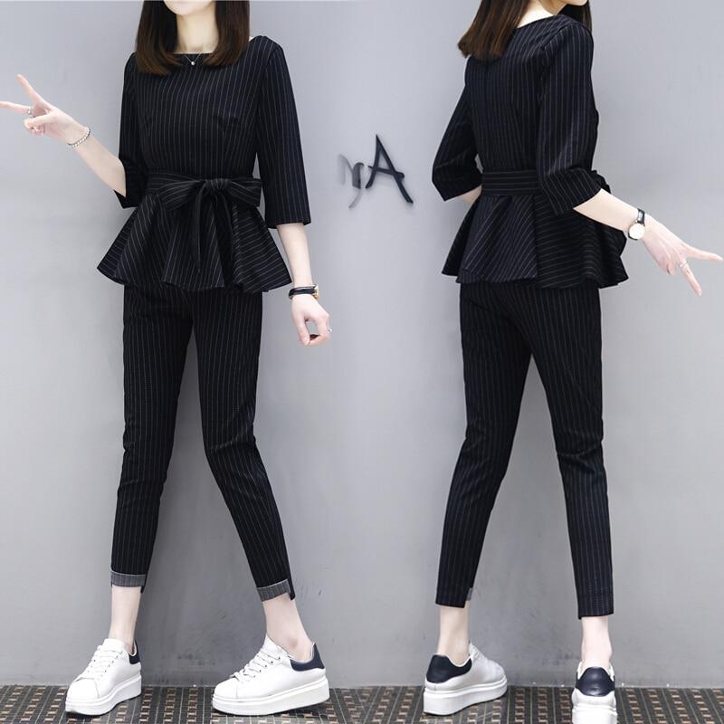 M-3xl  Woman Two Piece Sets Black Long Sleeve Blouse + Pants Fashion Slim Striped  Female Suit Plus Size