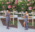 2015 New Arrival Maid Of Honor Dresses Gray One Shoulder Chiffon Long Cheap Bridesmaid Dresses Women Gowns Free Shipping BD203