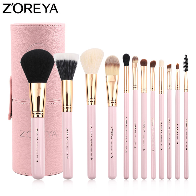 ZOREYA Brand 12Pcs Makeup Brushes Lip Eyebrow Powder Brush Colorful Luxury Professional Makeup Brush Set Pincel Maquiagem zoreya 18pcs makeup brushes professional make up brushes kits cosmetic brush set powder blush foundation eyebrow brush maquiagem