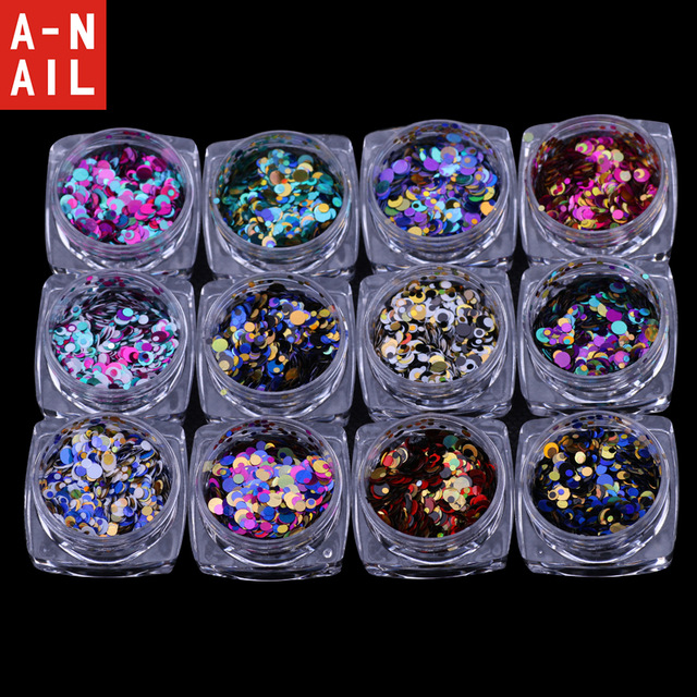 white nail art acrylic tips display round wheel 12jars/set Laser 12 colors  Nail Art Glitter ROUND Shapes Confetti Sequins Acrylic Tips UV Gel nail decorations BL Style