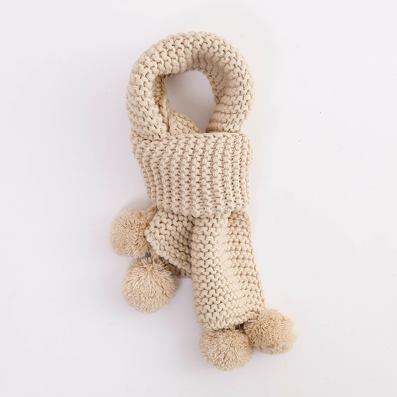 Autumn Winter Warm Children Knitted Scarf Handmade Ball Baby Neck Sleeve Candy Color Ball Scarf Kids Scarf Girl's Accessories