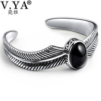 V.YA Vintage 925 Silver Cuff Bracelet & Bangle for Men Adjustable Black Feather Bracelets Sterling Silver Jewelry SMB046