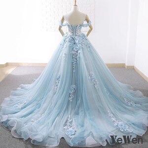 Image 3 - יוקרה נסיכת פרחי תחרה כלה חתונה שמלות 2020 חרוזים כדור שמלת אור כחול צבע הכלה שמלה אלגנטי robe דה mariee