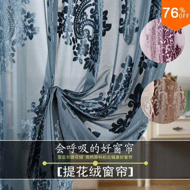 Free shipping elegant summer tulle Fantasy Classic drapery Curtain for Living Room For the house Velvet Flower style Never Seen