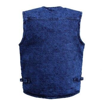 Vintage Hommes Sans Manches Denim Veste Coton Multi Poche Bleu Extérieur Gilet Décontracté Grande Taille 4XL 5XL Jeans Gilet Hommes