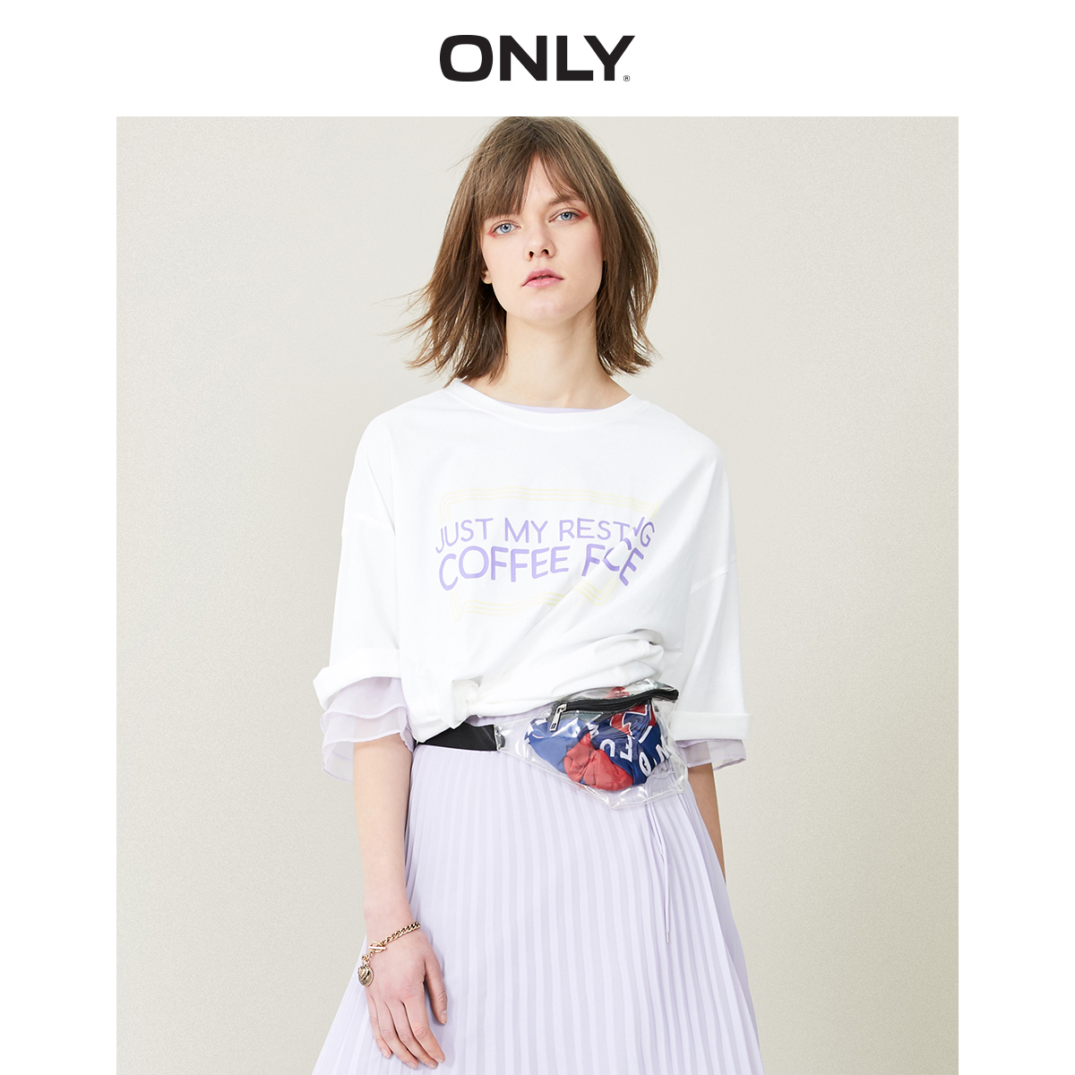 ONLY  Spring And Summer Women's Loose Fit Letter Print Elbow Sleeves T-shirt |119101568