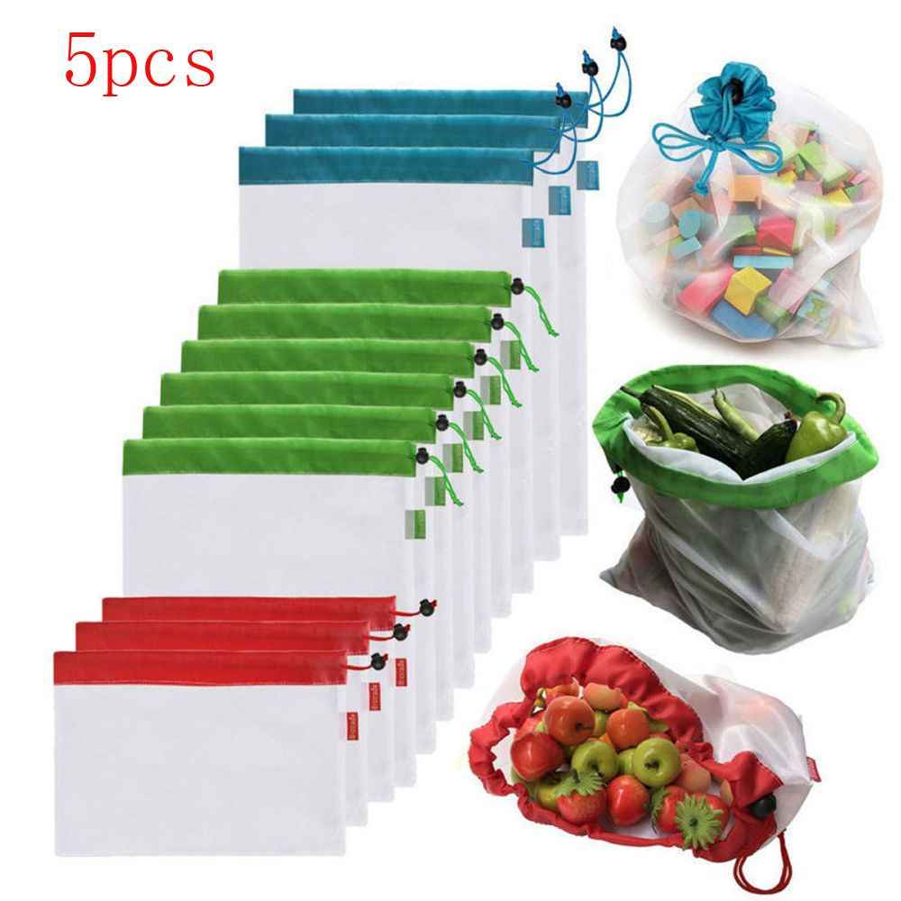 5pcs/pack Reusable Mesh Bags Rope Vegetable Toys Storage Pouch High Quality Nylon Pouch Fruit & Grocery Storage Bags