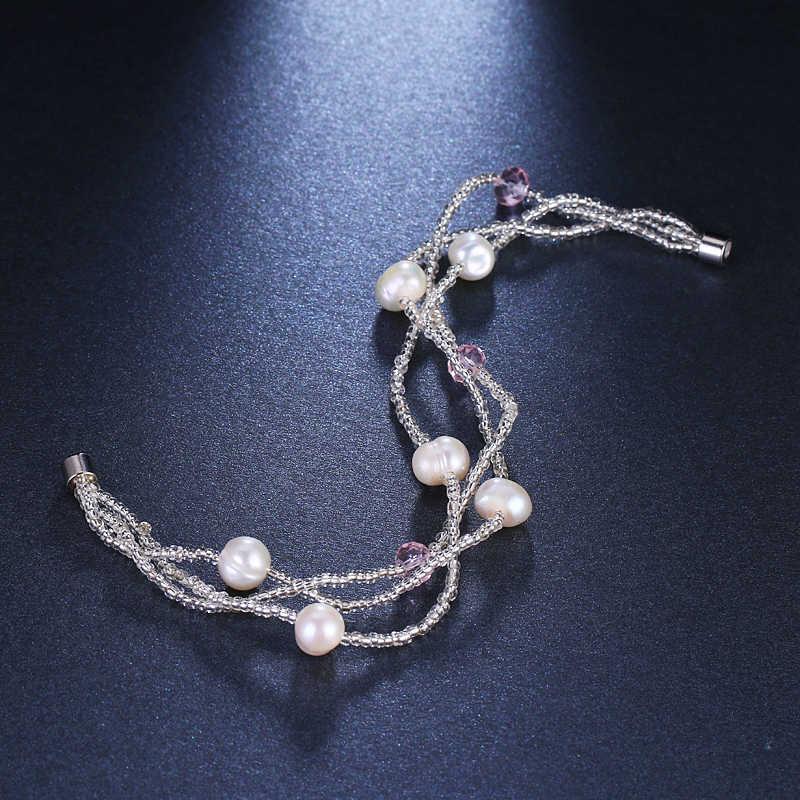 יוקרה עיצוב מותג אופנה חדש Emmaya קסם קריסטל תכשיטי פרל מים מתוקים חרוזים צמיד לנשים