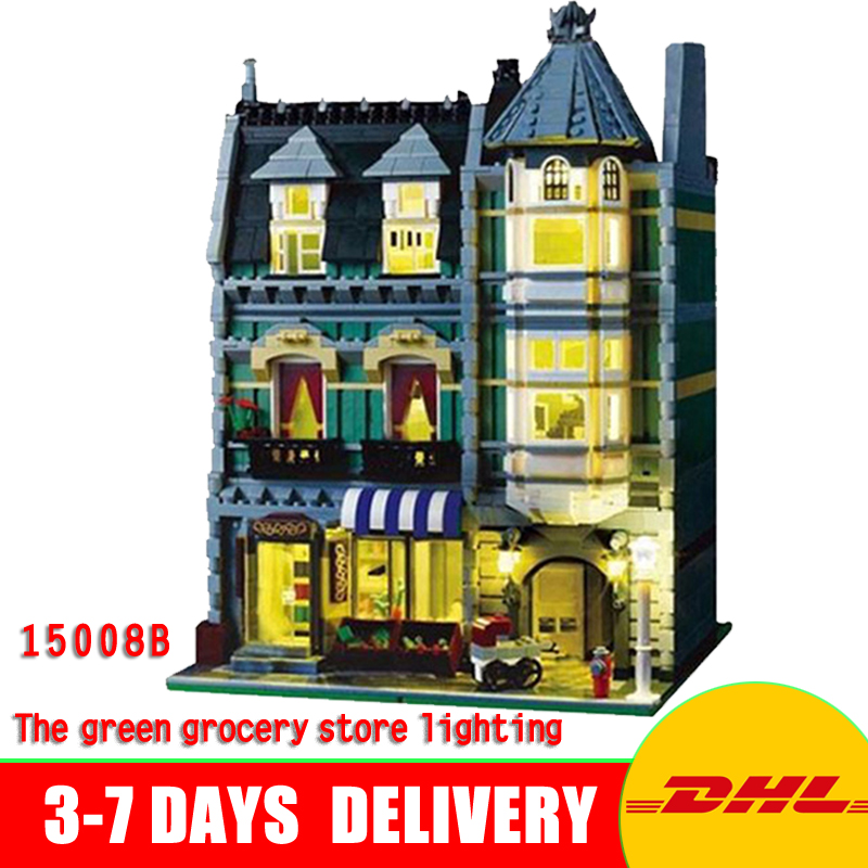 цена In Stock Lepin 15008B City Street Green Grocery Store Lighting Model Building Kits Blocks Bricks Toys Gifts Model 10185 2462pcs онлайн в 2017 году