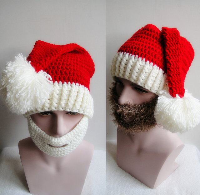 d2117ad0ed4 2pcs Funny Christmas Elderly Beard Hats Hand made Knit Warm Winter Caps Men  Women Cool Gifts Party Mask Beanies