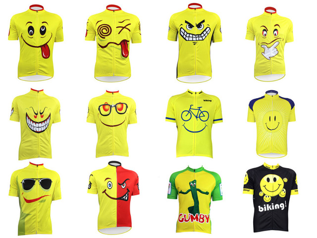 New Yellow Happy Face Cute Smile Hungry Angry Expression Bike Sunny Cartoon  Men Women Cycling Jersey Ropa Ciclismo Male Fashion 130c759a6