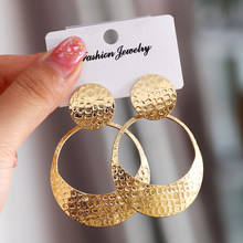 Simple fashion gold color Silver plated geometric big round earrings for women fashion big hollow drop earrings jewelry(China)