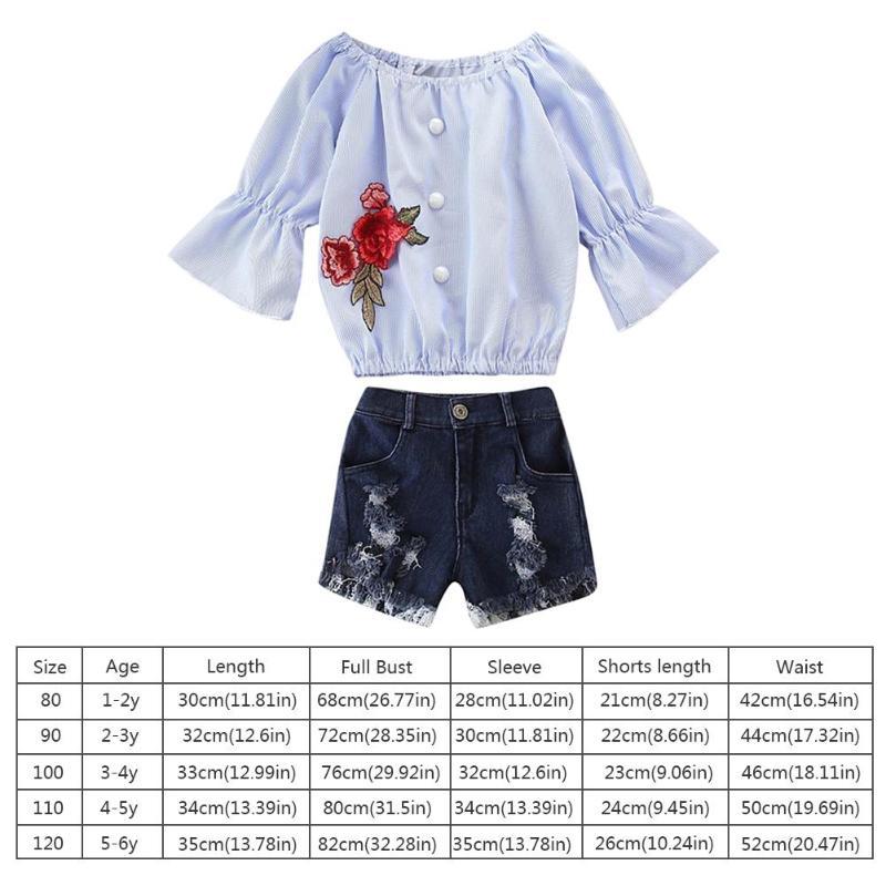 0df00338bed96f 2pcs/Set Girls Clothes Trumpet Sleeve Off Shoulder Tops Denim Holes Shorts  Outfits Suit