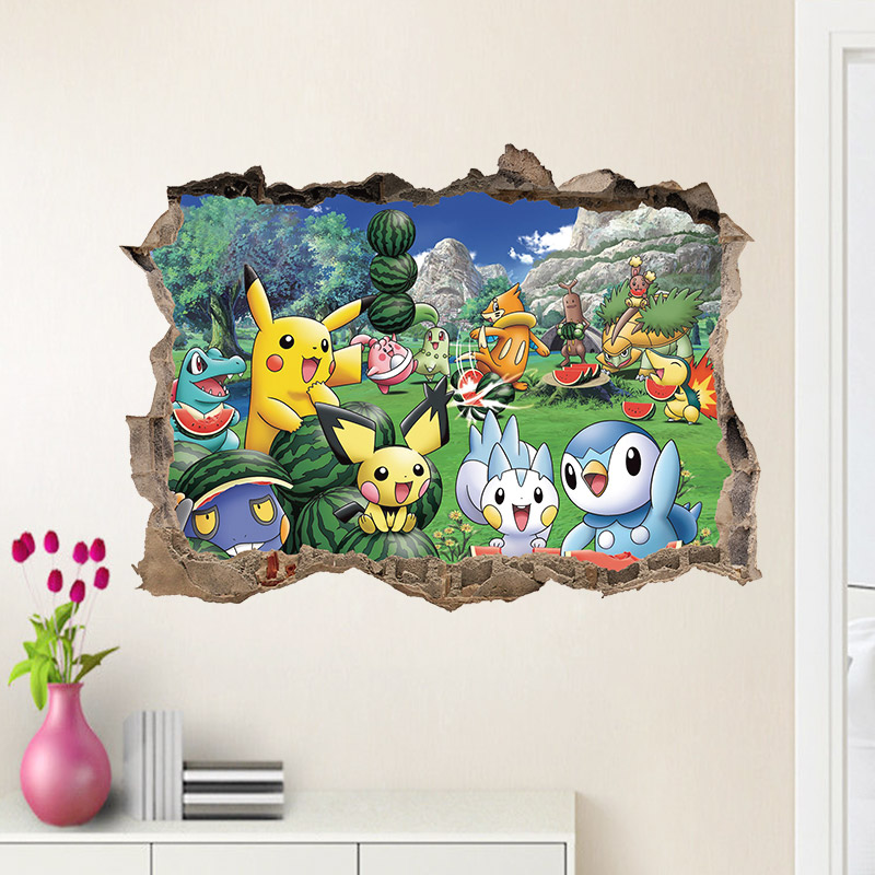 Broken Wall Pokemon Go Wall Stickers For Kids Rooms Pikachu Watermelon Fruit Wall Decals Poster Cartoon Child gift