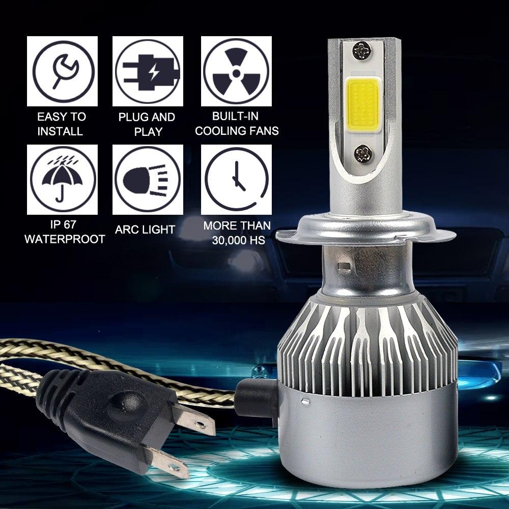 Taitian 2 Pcs COB 72 W 8000LM 6500 K DC12V 24 V Truk Umbi H4 Canbus - Lampu mobil - Foto 2