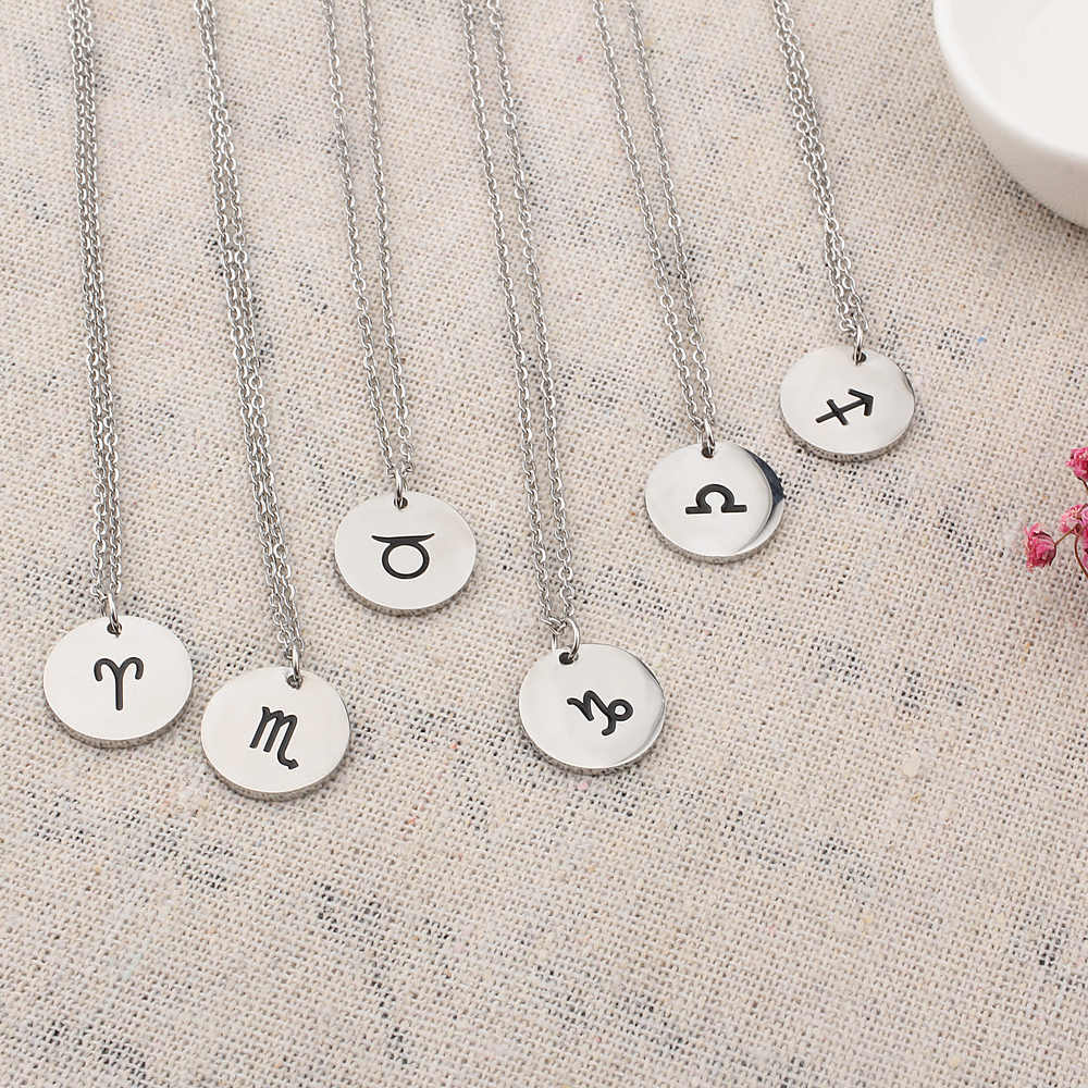 FINE4U N252 חקוק מזלות תליוני שרשרות נירוסטה שרשרת שרשרת חמוד זעיר מטבעות תכשיטי יום הולדת מתנות