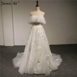 Новые с открытыми плечами без бретелек Модные свадебные платья 2018 аппликации цветы высокого класса сексуальные свадебные платья